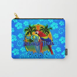 Island Time Surfing Blue Tropical Flowers Carry-All Pouch