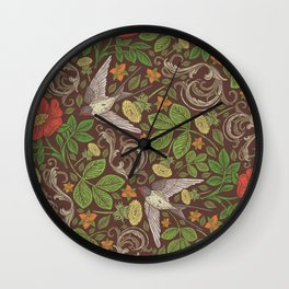 Swallows with dandelions and roses on brown background Wall Clock