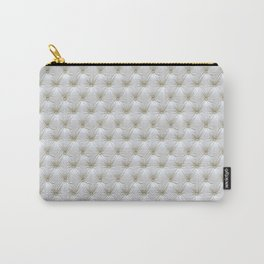 Faux White Leather Buttoned Carry-All Pouch
