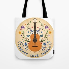 Peace Love And Music Folk Guitar Badge Tote Bag