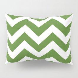 Sap green - green color - Zigzag Chevron Pattern Pillow Sham