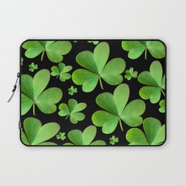 Clovers on Black Laptop Sleeve