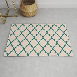 Classic Quatrefoil Lattice Pattern 827 Jade Green and Beige Rug