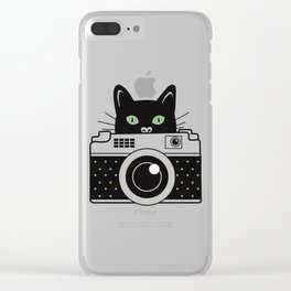 Black Cat and Camera Clear iPhone Case