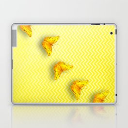 Butterflies on buttercup yellow chevron pattern Laptop & iPad Skin