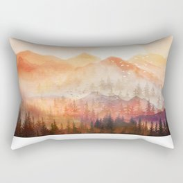 Forest Shrouded in Morning Mist Rectangular Pillow