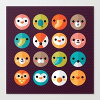 monika strigel Canvas Prints featuring SMILEY FACES 1 by Daisy Beatrice