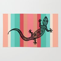 southwest Area & Throw Rugs featuring Southwest Gecko by Lisa Argyropoulos