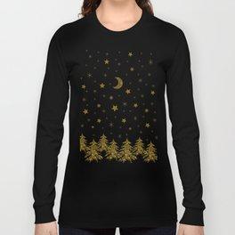 Sparkly Christmas tree, moon, stars Long Sleeve T-shirt