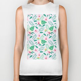 Blush pink  green tropical flower of paradise orchid floral Biker Tank