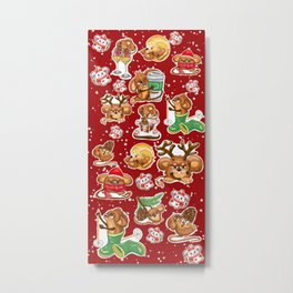 Christmas mouses in red Metal Print