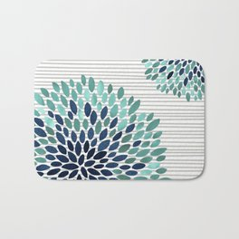 Blooms and Stripes, Aqua and Navy Bath Mat