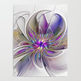 Energetic, Abstract And Colorful Fractal Art Flower Poster