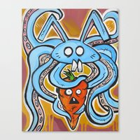 vegetarian Canvas Prints featuring Eat Vegetarian by Ivan Collich