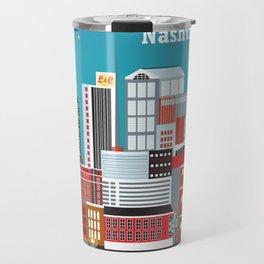 Nashville, Tennessee - Skyline Illustration by Loose Petals Travel Mug
