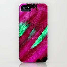 Magenta Abstract Heart Splatter Painting Magenta Red Crimson Green Black iPhone Case