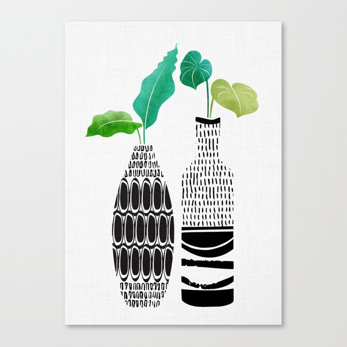 Tribal Vases II with Tropical Greenery Canvas Print
