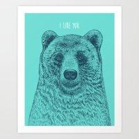 i like you Art Prints featuring I Like You (Bear) by Rachel Caldwell