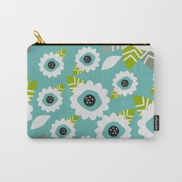 Abstract little flowers in blue Carry-All Pouch
