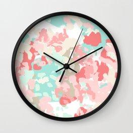 Florence - abstract trendy colors gender neutral seaside coral tropical minimal mermaids Wall Clock