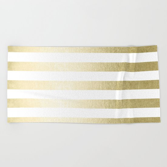 Simply Striped Gilded Palace Gold Beach Towel