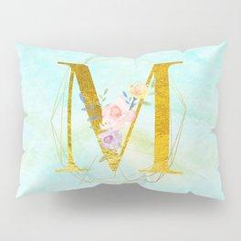 Gold Foil Alphabet Letter M Initials Monogram Frame with a Gold Geometric Wreath Pillow Sham