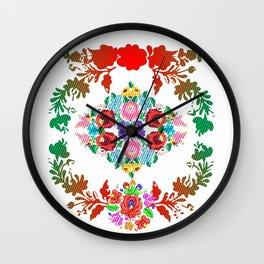 Hungarian 'matyo' folklore styled artwork Wall Clock
