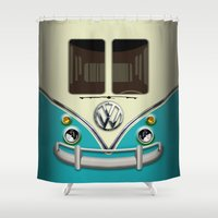 vans Shower Curtains featuring Special Gift for Summer Holiday blue teal minivan minibus iPhone 4 4s 5 5c 6, pillow case and mugs by Three Second
