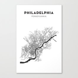PHILADELPHIA MAP PRINT Canvas Print
