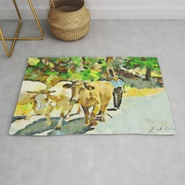 Shepherd with cows on the road Rug