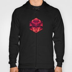 Abstract  geometric triangle texture pattern design in diabolic future red Hoody