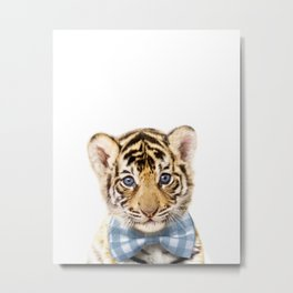 Baby Tiger With Bow Tie, Baby Animals Art Print By Synplus Metal Print