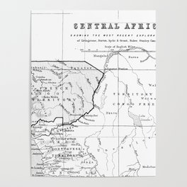 Black And White Vintage Map Of Africa Poster
