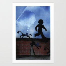Boy and Monkey on Wall St. Art Print