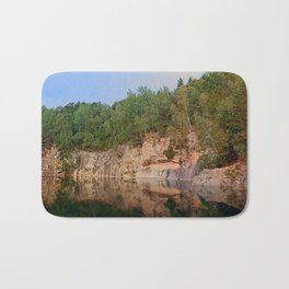 Granite rocks at the natural lake | waterscape photography Bath Mat