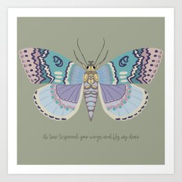 It's time to fly! - gouache and pencil hand drawn butterfly art. Art Print