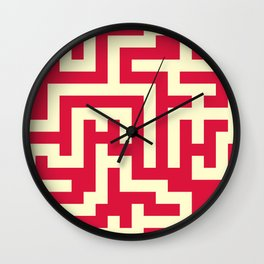 Cream Yellow and Crimson Red Labyrinth Wall Clock