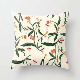 Mushrooms and Flowers Hanging Out Throw Pillow