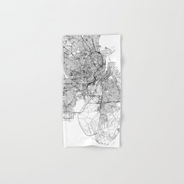 Copenhagen White Map Hand & Bath Towel