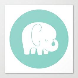 Mod Baby Elephant Teal Canvas Print