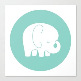 Mod Baby Elephant Teal Canvas Print