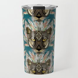 native mountain lion blue Travel Mug