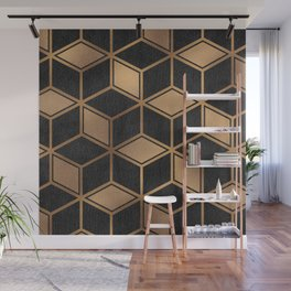 Charcoal and Gold - Geometric Textured Cube Design II Wall Mural