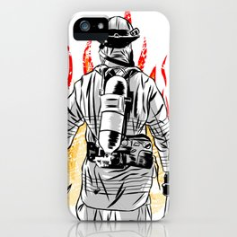 Firefighter Fireman Flames Fire Thin Red Line Gift for Men iPhone Case