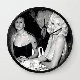 Jayne Mansfield–Sophia Loren print Wall Clock