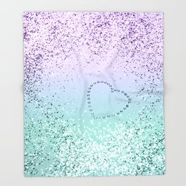 Sparkling MERMAID Girls Glitter Heart #1 #decor #art #society6 Throw Blanket