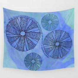 Blue Sea Urchin Wall Tapestry