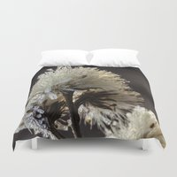 weed Duvet Covers featuring frosty weed by Bonnie Jakobsen-Martin
