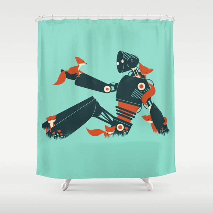 Foxes The Robot Shower Curtain