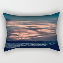 Golden Sunset on the Wild Beach in Essaouira, Morocco. Seascape Photography. Rectangular Pillow
